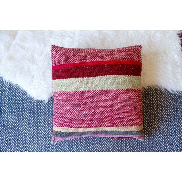 """Set of 2 17"""" Peruvian Red Tone Wool Frazada Pillows For Sale - Image 4 of 4"""