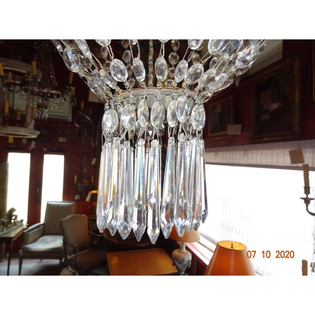 Traditional 19th Century Italian Crystal and Iron Chandelier For Sale - Image 3 of 13