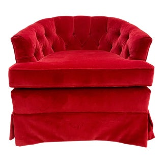1960s Vintage Red Velvet Button Tucked Arm Chair For Sale