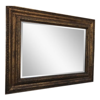 Framed Mirror With Matted Gold Rustic Solid Wood Frame