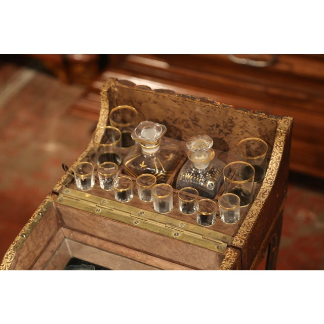 Red Early 19th Century French Faux Leather Bound Books Liquor Cabinet With Glasses For Sale - Image 8 of 11