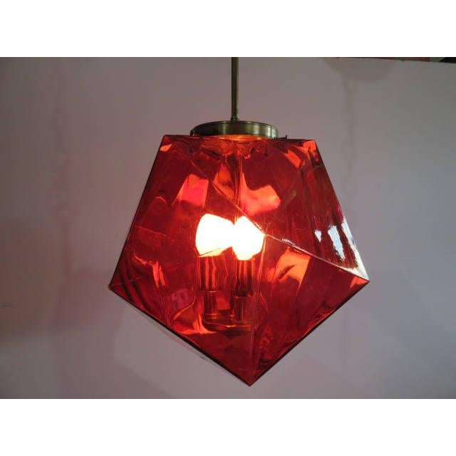 Mid-Century Modern Geodesic Cranberry Colored Light Pendant Mid Century Modern For Sale - Image 3 of 11