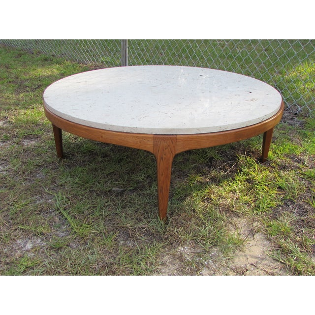 Danish Modern Round Stone Top Coffee Table By Lane Image 2 Of 10
