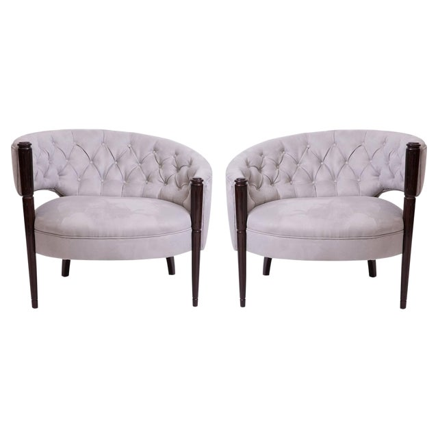 1940s Sculptural Diamond Tufted Lounge Chairs - a Pair For Sale