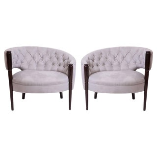Sculptural 1940s Diamond Tufted Lounge Chairs