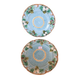 Aqua Majolica Plates With Strawberries and Leaves - a Pair For Sale