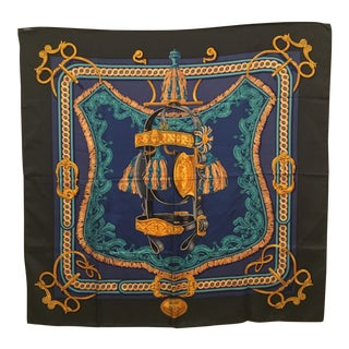 Late 20th Century Hermès Bride De Cour Silk Scarf For Sale