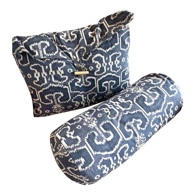 Navy Ikat Throw Pillows- A Pair For Sale