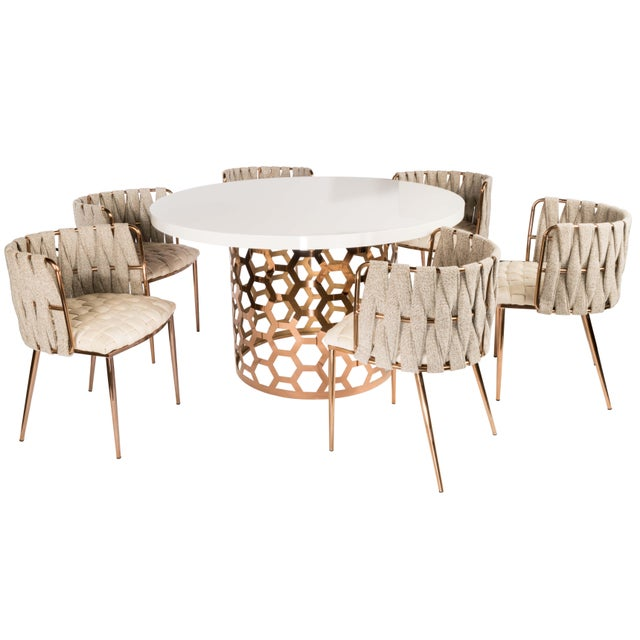 2010s Modern Milano Off White and Gold Dining Chair For Sale - Image 5 of 6