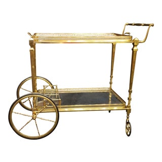 French Metal & Glass Bar Cart, Maison Jansen Style, Mid Century For Sale
