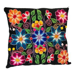Mexican Flower Embroidery Pillow For Sale