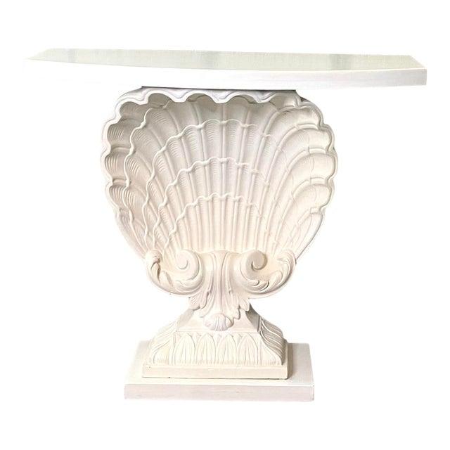 Vintage Coastal Grosfeld House Clamshell Console Table For Sale