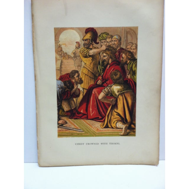 """This is an Antique Color Religious Print that is titled """"Christ Crowned With Thorns"""". The Print is in Good Condition and..."""