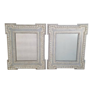 Blue and Cream Painted Mirrors - A Pair