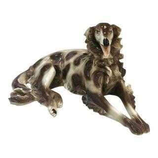 Italian Hand Painted Long Hair Ceramic Greyhound