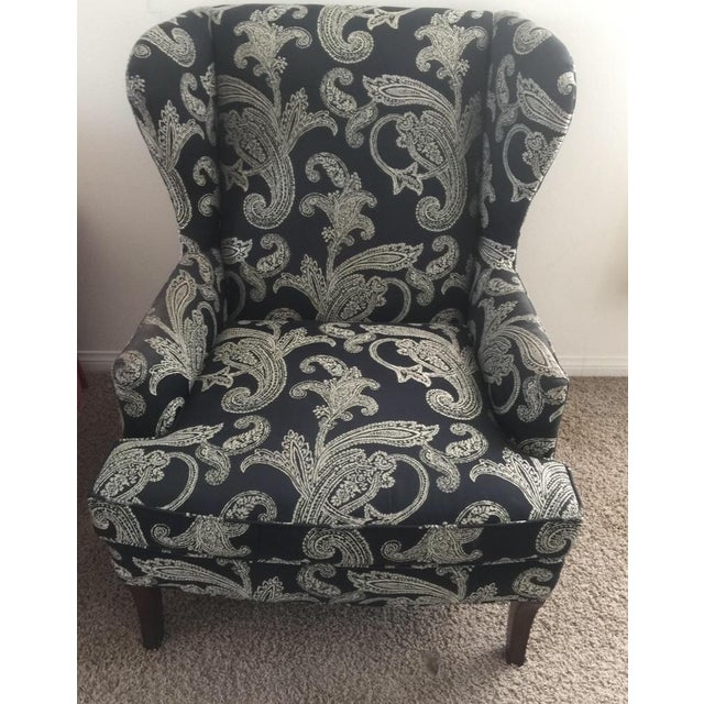 Black and White Paisley Pattern Oberlin Chair by Kravet Furniture. Grand Chair with luxurious refinement and elegance. I...