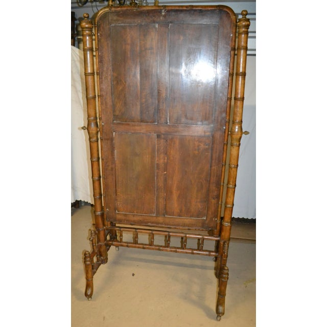 19th Century French Faux Bamboo Cheval Mirror For Sale - Image 4 of 9