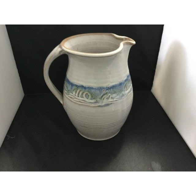 Ceramic Ceramic White and Blue Potter J. Preston Pitcher For Sale - Image 7 of 7
