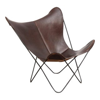 Tobacco Leather Hardoy Butterfly Chair For Sale