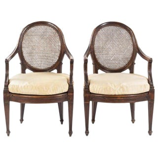 Italian Walnut Fauteuils Genoa, Circa 1790 - a Pair For Sale