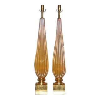 Vintage Murano Orange Opaline Glass Lamps For Sale