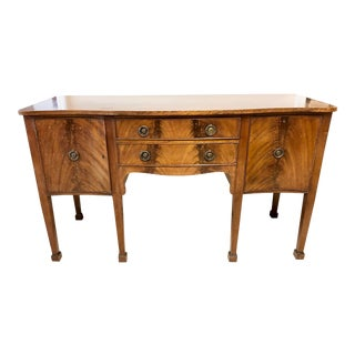 Walnut Serpentine Front Sheraton Sideboard For Sale