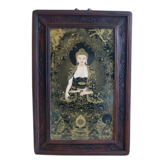 Early 20th Century Chinese Framed Porcelain Buddhist Temple Plaque of the Medicine Buddha For Sale