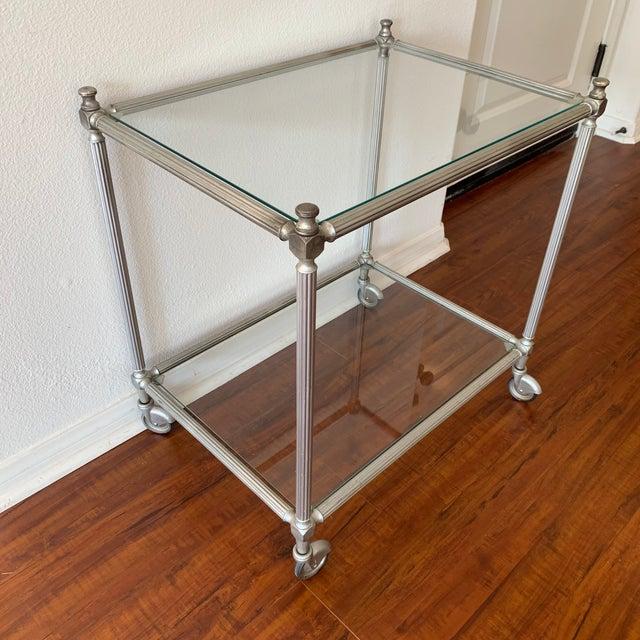 Metal Vintage Nickel Silver Metal Rolling Bar Cart For Sale - Image 7 of 11