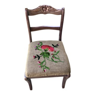 Mid Century Floral Embroidered Seat Wood Chair