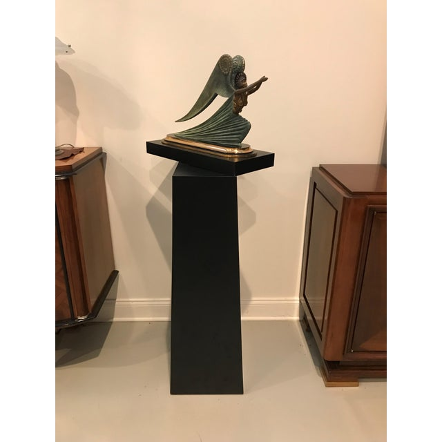 "1984 Erte limited edition ""Angel"" bronze sculpture by Romain de Tirtoff. Comes with black pedestal dimensions: Height 42.5..."