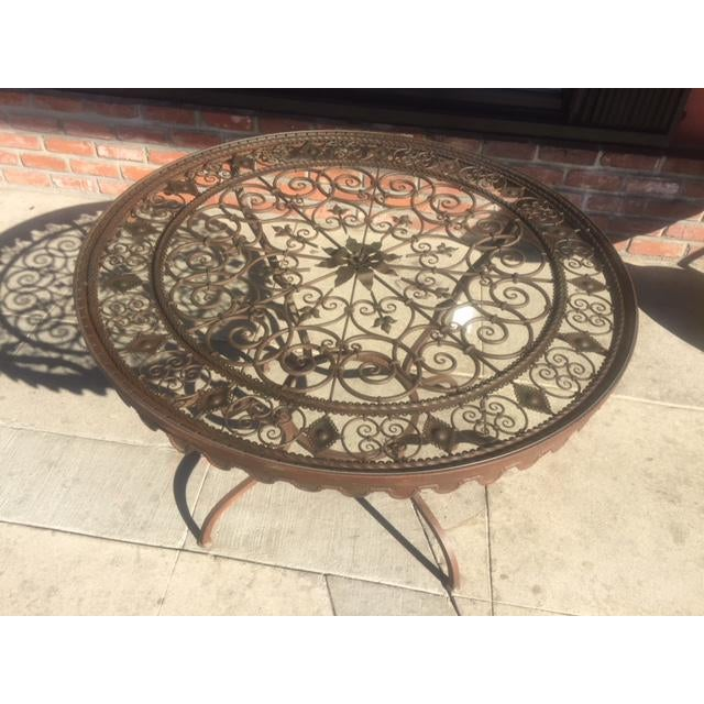 Wrought Iron Round Table.1950 S Vintage Wrought Iron With Glass Top Round Table