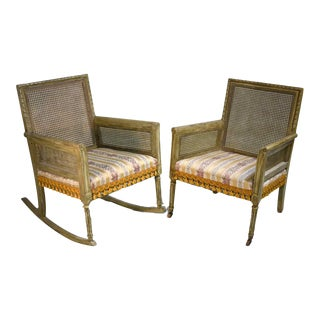 Mid-Century Cane-Back Tassel Fringe Rocking and Arm Chairs - a Pair For Sale