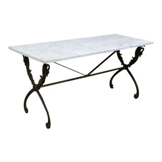 19th Century Wrought Iron Marble Top Confectioner's Table For Sale