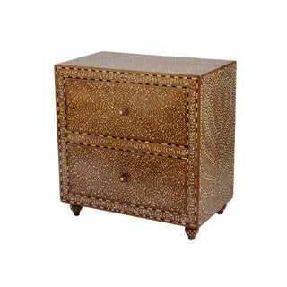 Bone Inlay 2 Drawer Bedside Table For Sale