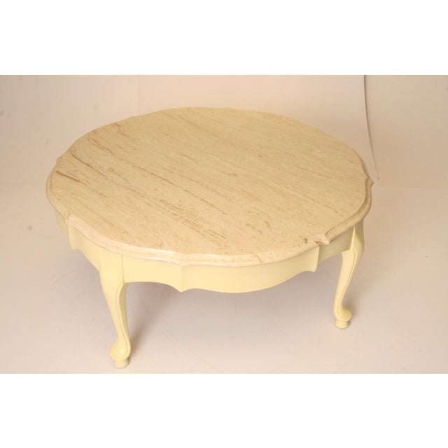 French Provincial Coffee Table For Sale: Vintage French Provincial Marble Top Round Coffee Table