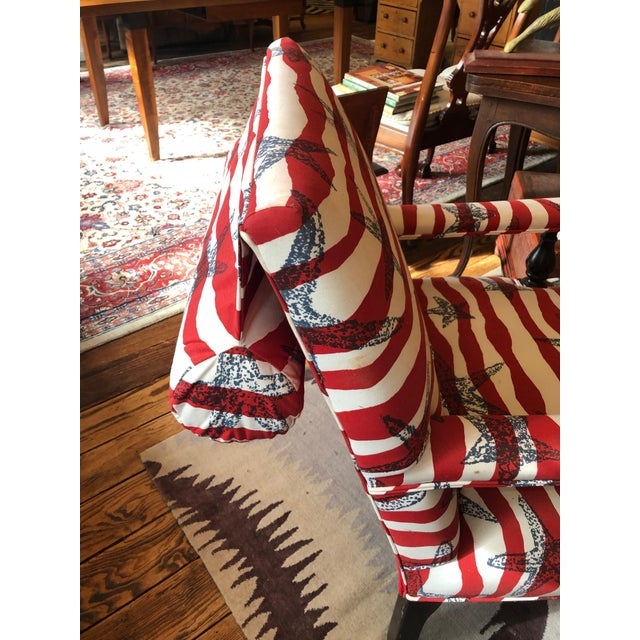 Red White and Blue Upholstered Club Chairs- a Pair For Sale - Image 9 of 13