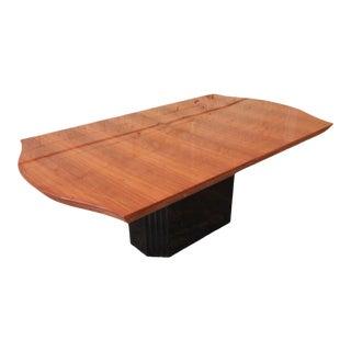 Mid-Century Henredon Elan Collection Black Lacquer & Koa Wood Pedestal Dining Table For Sale