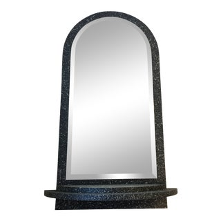 1980s Black Empire Art Products Mirror With Shelf For Sale