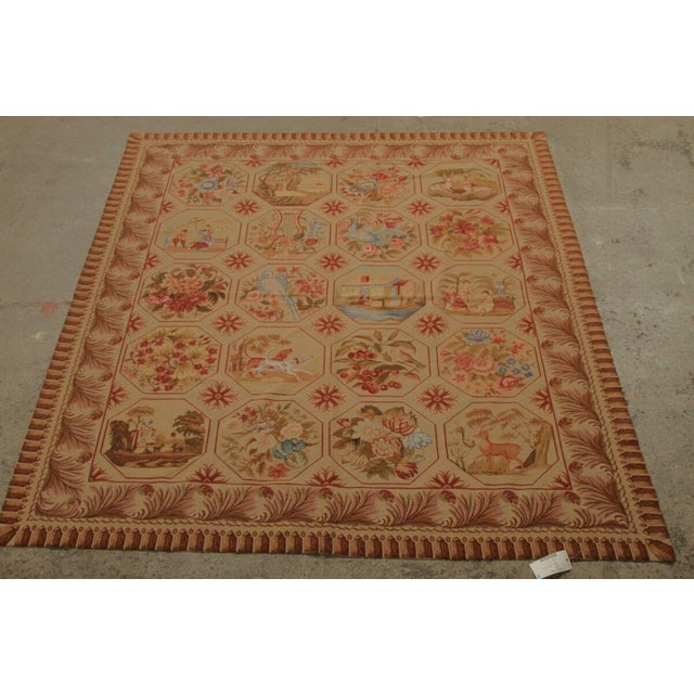 Vintage Mid-Century Hand-Knotted Needlepoint Rug - 5′10″ × 6′11″ For Sale - Image 4 of 5