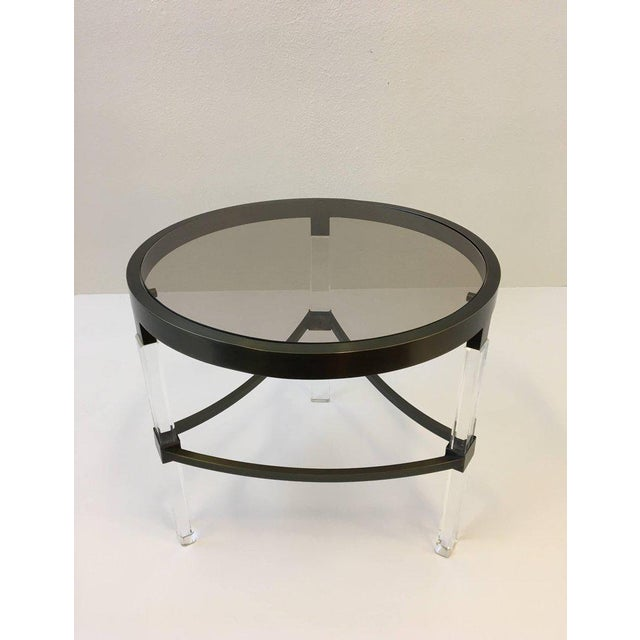 1970s Bronze and Acrylic Side Table by Charles Hollis Jones For Sale - Image 5 of 7