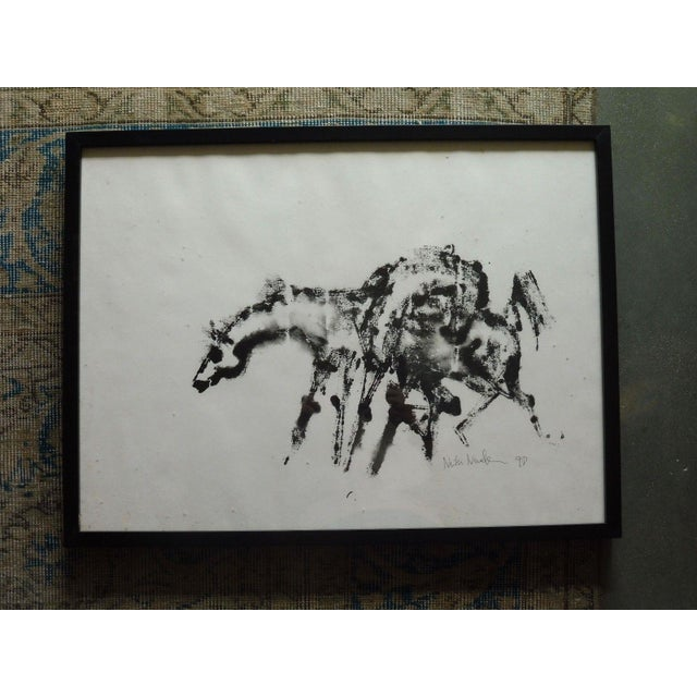 1990's Vintage Horse Watercolor Painting by Neith Nevelson For Sale - Image 4 of 4