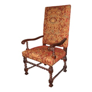 Italian Tuscan Tall Square Back Arm Chair For Sale