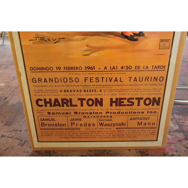 1960s Charlton Heston 1960s Spanish Bullfight Poster For Sale - Image 5 of 5