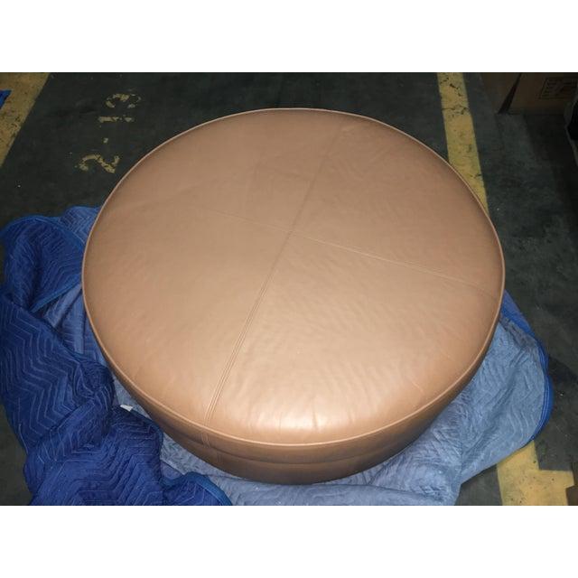 Donghia custom leather ottoman.