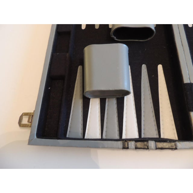"""Vintage Grey and Black Backgammon Game Case Includes all that is pictured. Size: 14.5""""D x 19""""W x 1""""H"""
