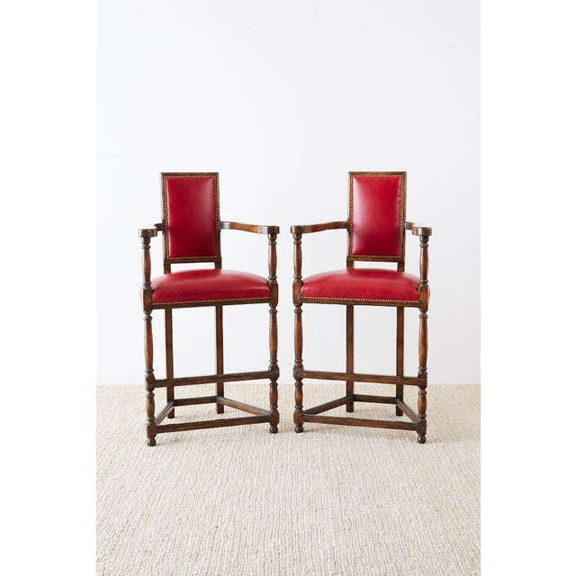 Louis XIII Pair of Dennis Leen Walnut and Leather Bar Stools For Sale - Image 3 of 13