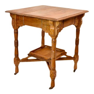 Victorian Era Solid Oak Occasional Side Table For Sale