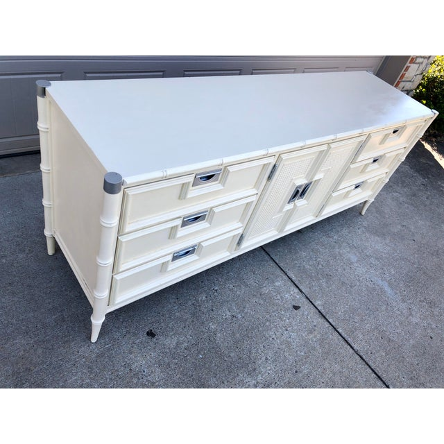 Boho Chic 1960s Hollywood Regency Stanley Faux Bamboo Lowboy Dresser For Sale - Image 3 of 8