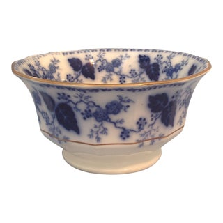 Antique 1900s English Traditional Flow Blue Serving Bowl For Sale