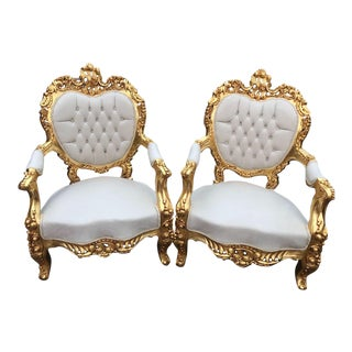 1940s Vintage Italian Rococo Style Chairs - A Pair For Sale